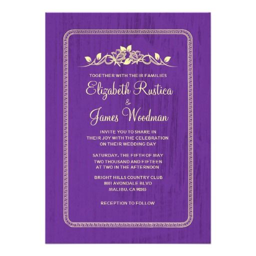 ReviewPurple Gold Vintage Barn Wood Wedding Invitations Personalized InvitationIn our offer link above you will see