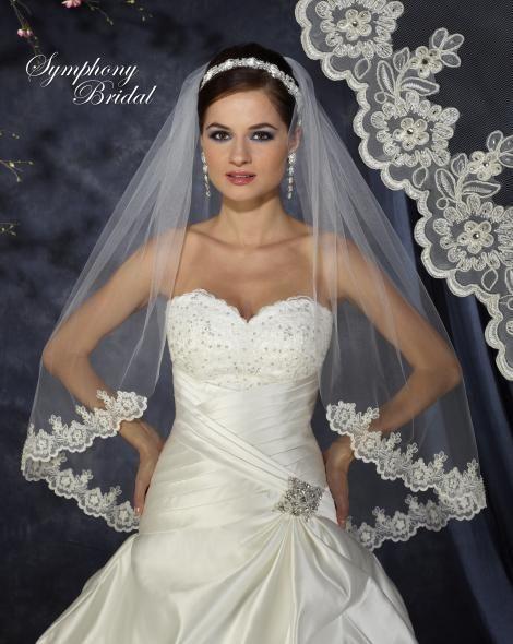 Lovely Lace Edge Fingertip Wedding Veil 6373VL by Symphony Bridal - Affordable Elegance Bridal -