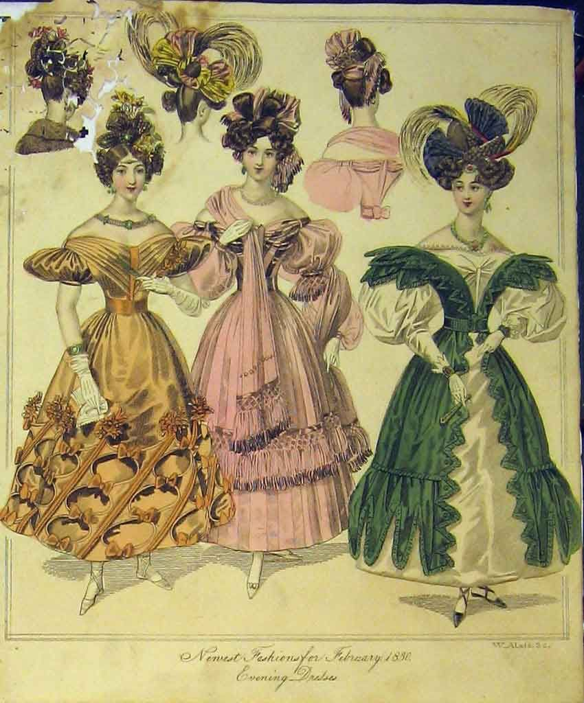 women's clothing 1830 | Antique Print Womens Fashion 1830 Evening Dresses  Head-dresses .
