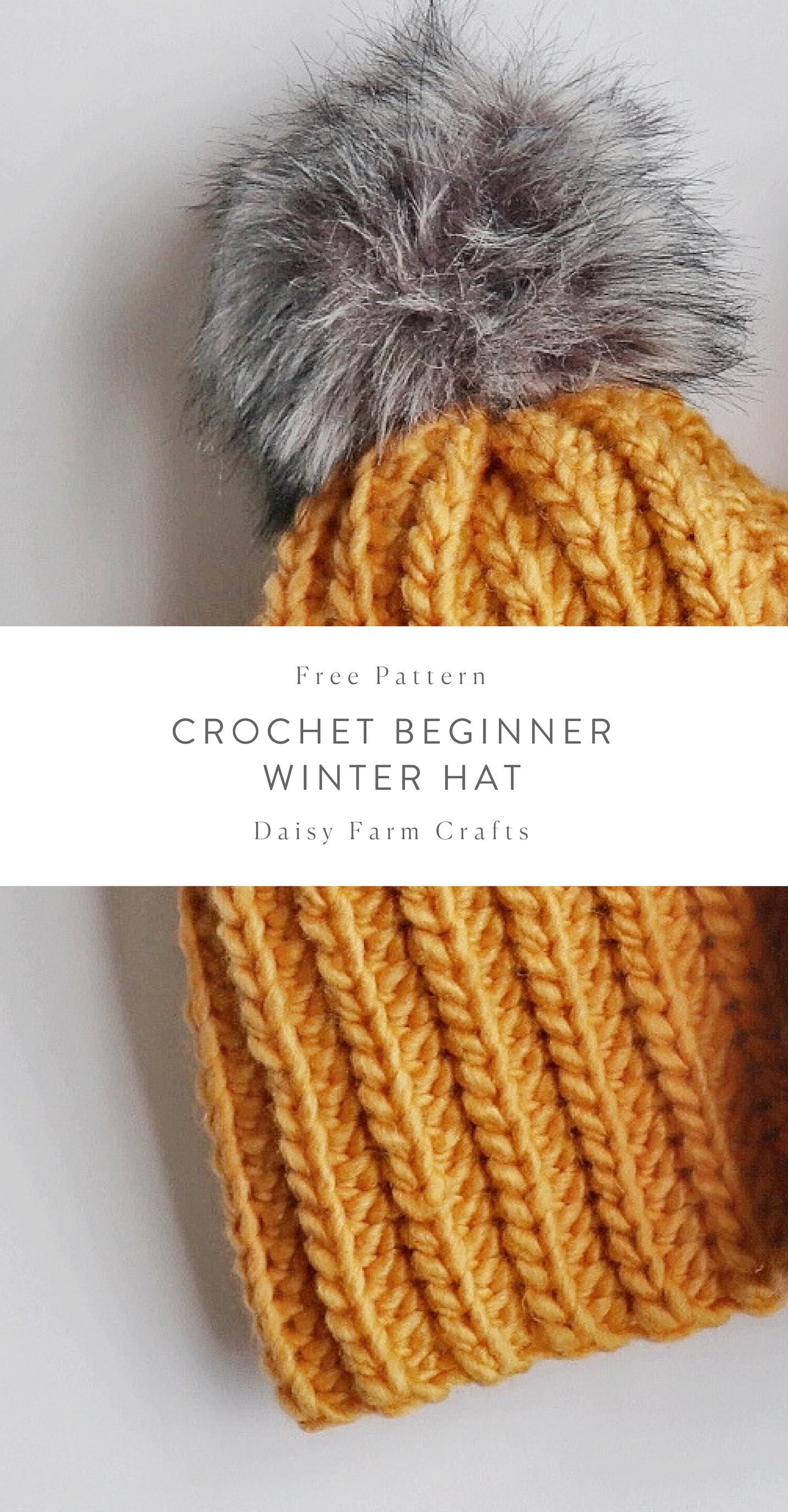 Free Pattern - Crochet Beginner Winter Hat #beaniehats
