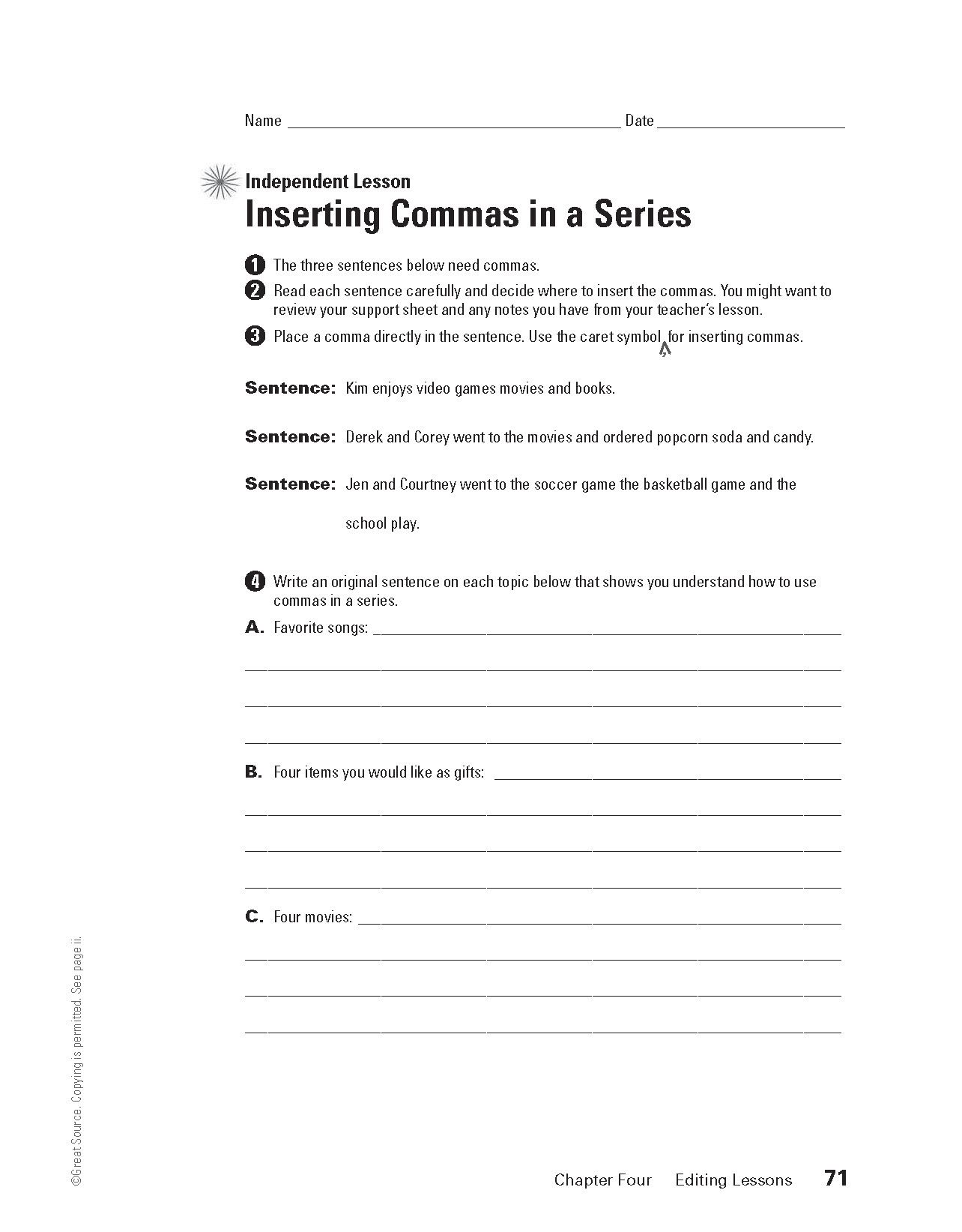 Inserting Commas In A Series Grades 6 8 Download And Print This Independent Lesson For Inserting Summer School Curriculum Summer School Commas In A Series [ 1643 x 1284 Pixel ]