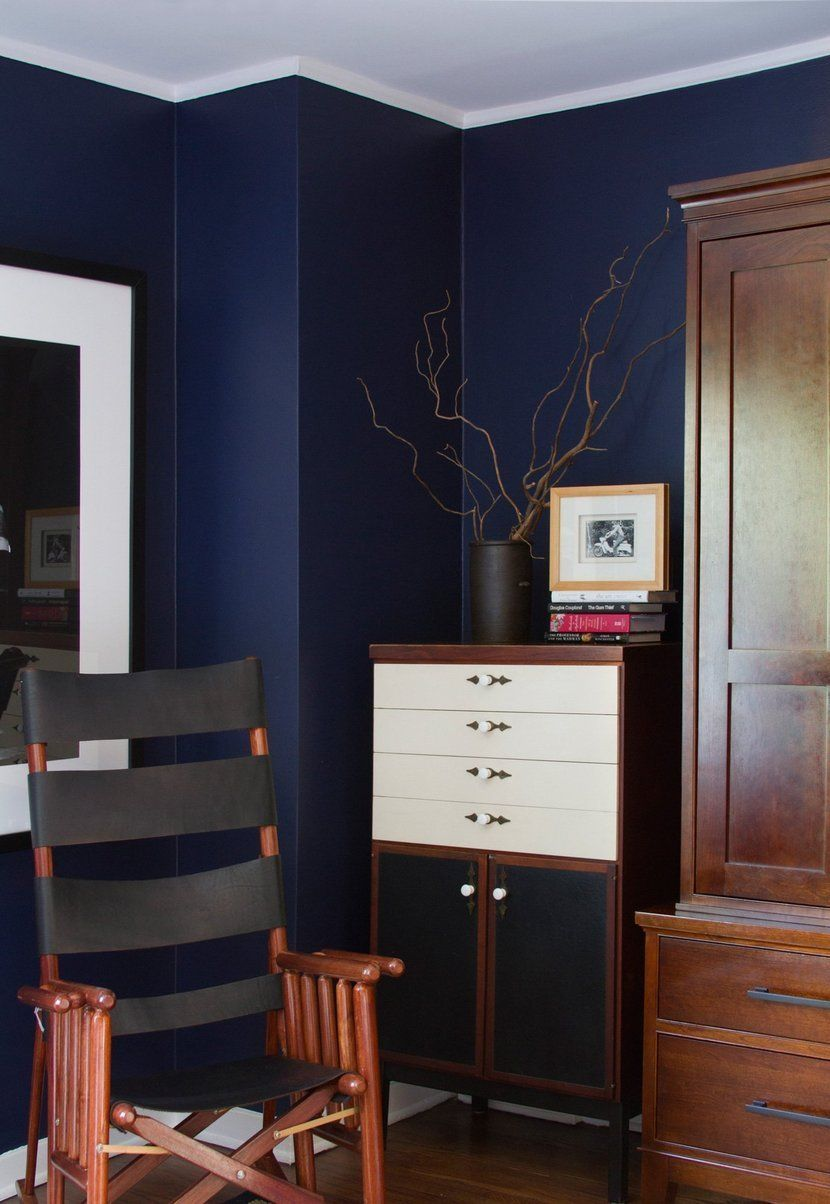 Warm Cobalt Blue Walls With White Trim And Ceiling It S Deep Dramatic Dark Ralph Lauren Club Navy Coats The In Lucie Chris