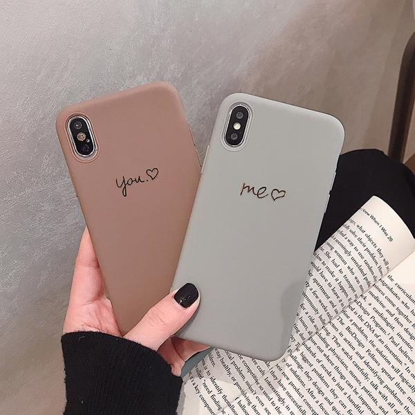 Case Simple Gold You Me Brown Grey Phone Case For iPhone X XS Max XR Soft TPU Cover For iPhone 7 8 6 6s Plus Case Coque