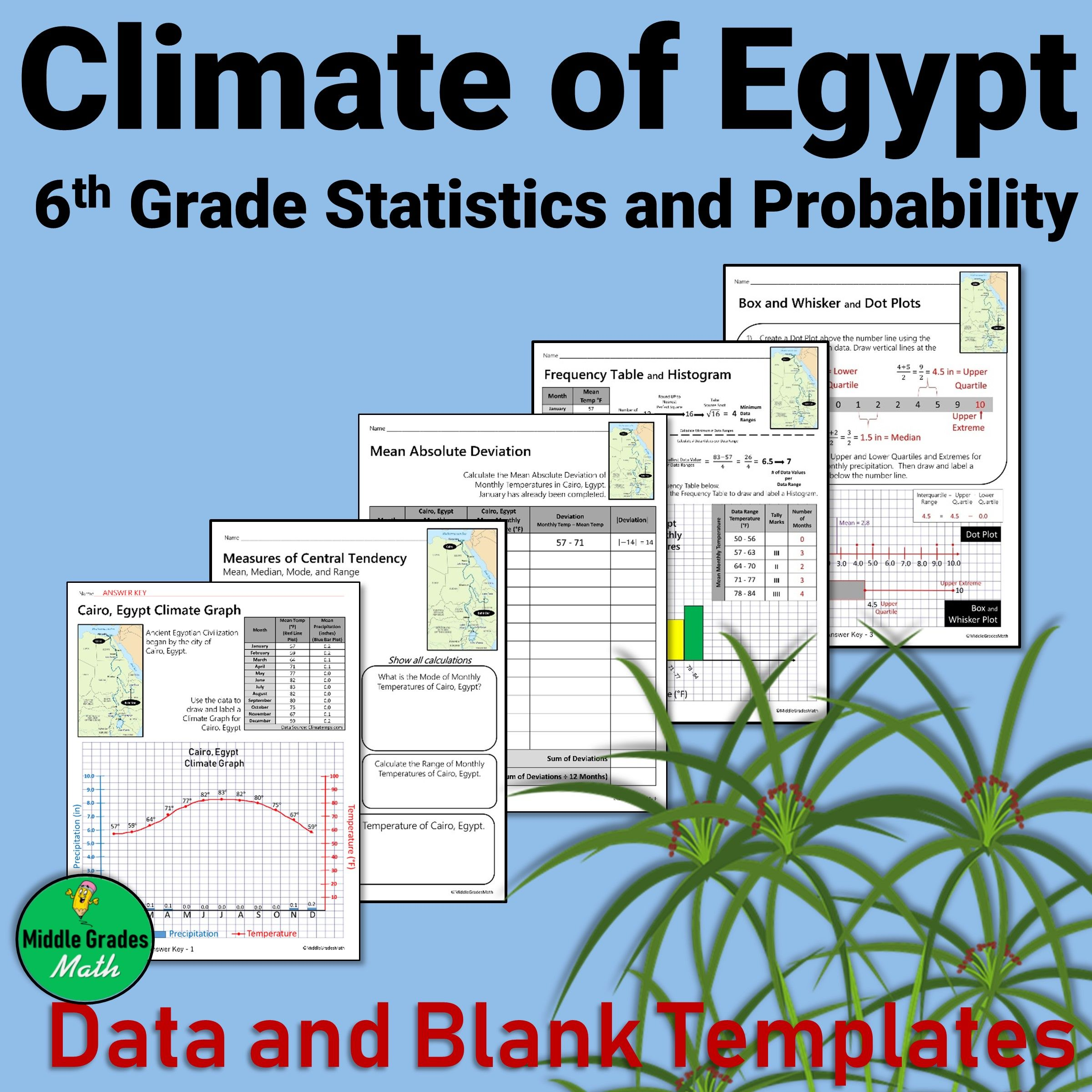 Climate Of Egypt 6th Grade Statistics And Probability Probability Lessons 6th Grade Social Studies Probability Activities