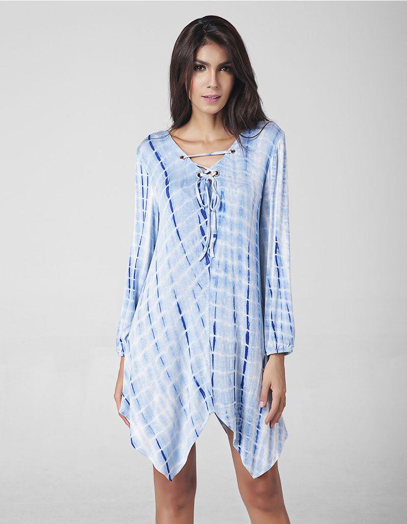 7629987e499 Long Sleeve Lace Up Striped Beach Dress