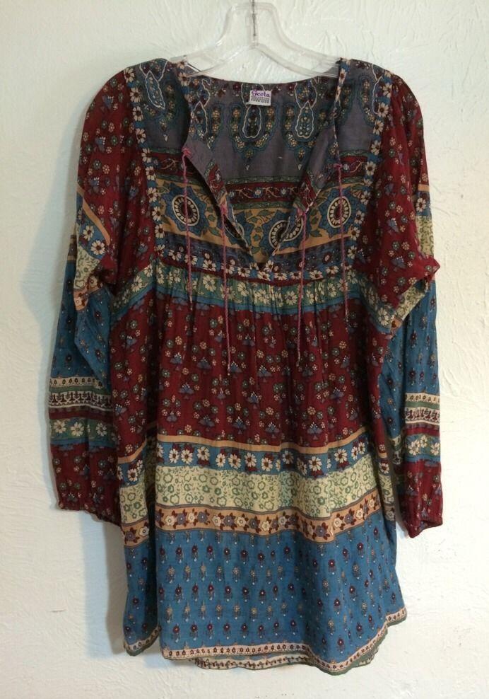 974d20a4e31 Vintage India Cotton Gauze Geeta Blouse Top Shirt Tunic Hippie Winter Boho  Kate #Geeta #Tunic