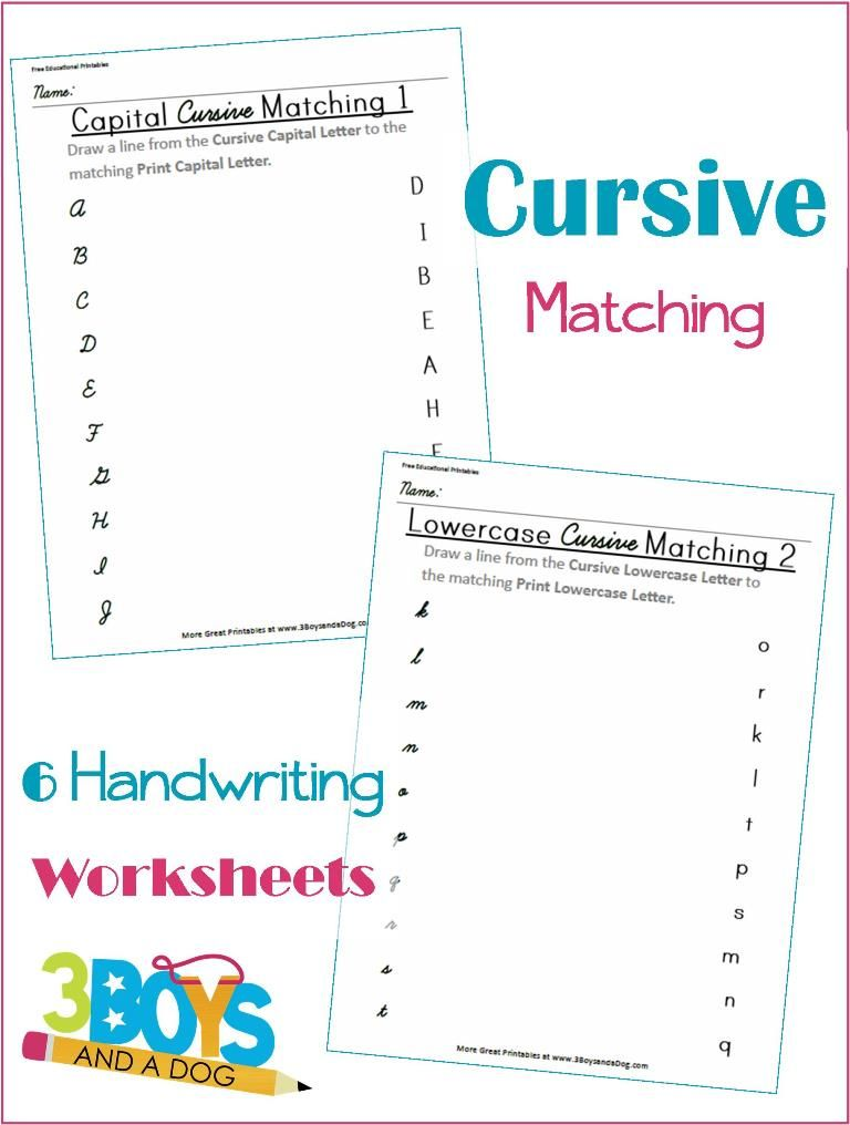 Cursive And Print Letter Matching Printable Worksheets Cursive Writing  Worksheets, Cursive Practice, Lowercase Cursive Letters