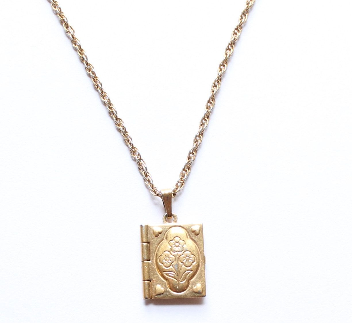 Avon Signed Gold Tone Book Locket Pendant Necklace by paststore on