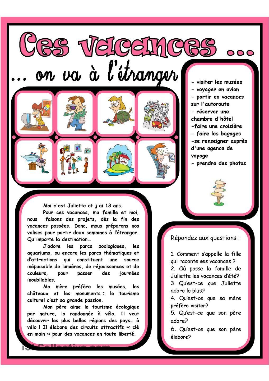 Ces Vacances On Va A L Etranger 4 Fiches Pedagogiques Apprentissage De La Langue Francaise Vacances