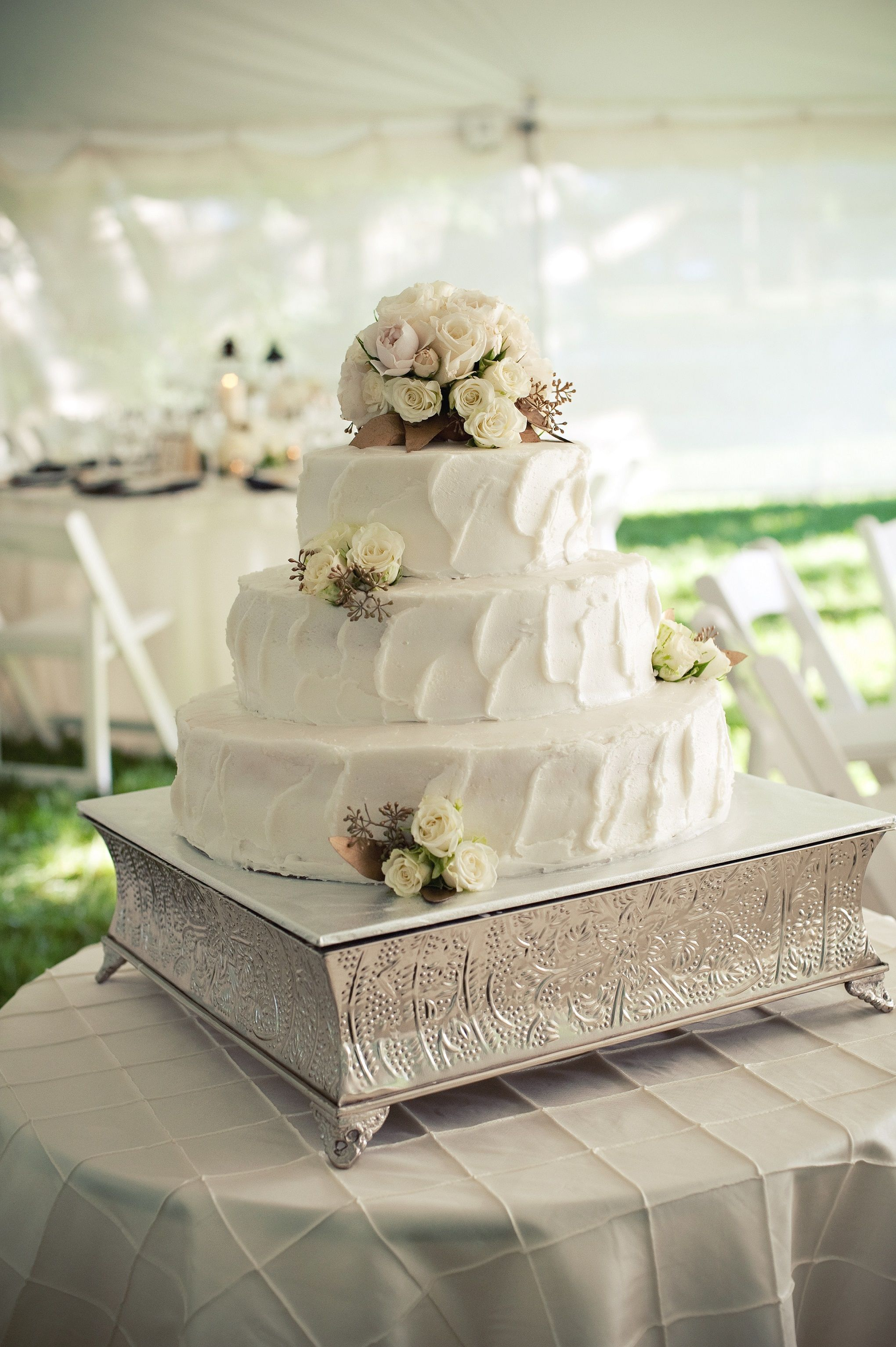 Ivory Wedding Cake Ercream Frosting Fl Topper Tent Silver