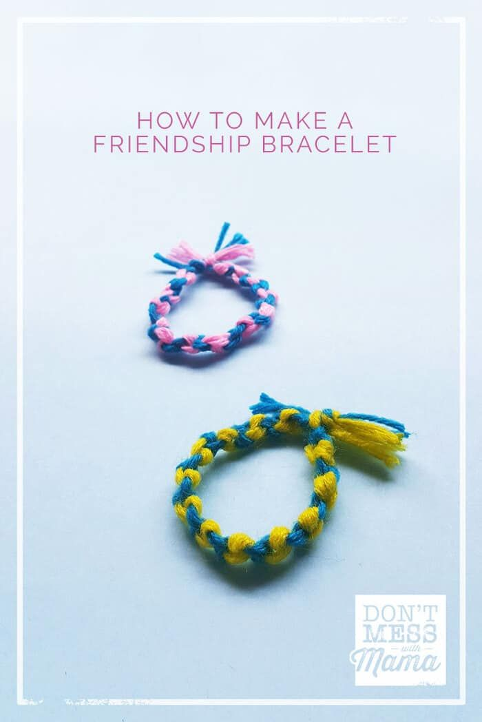 Keep the kids busy with this simple indoor craft. Make a DIY friendship bracelet. Complete with step by step instructions and images. Add a drop of essential oil to the bracelet for aromatherapy on the go. #kidscraft #crafts #diy #friendshipbracelet via @dontmesswithmom