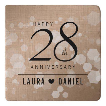 Elegant 28th Linen Wedding Anniversary Celebration Trivet And Weddings