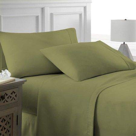 Solid Color Ultra Soft Bed Sheets Set Fashion 6 Pcs Fine Linen Bedding Green