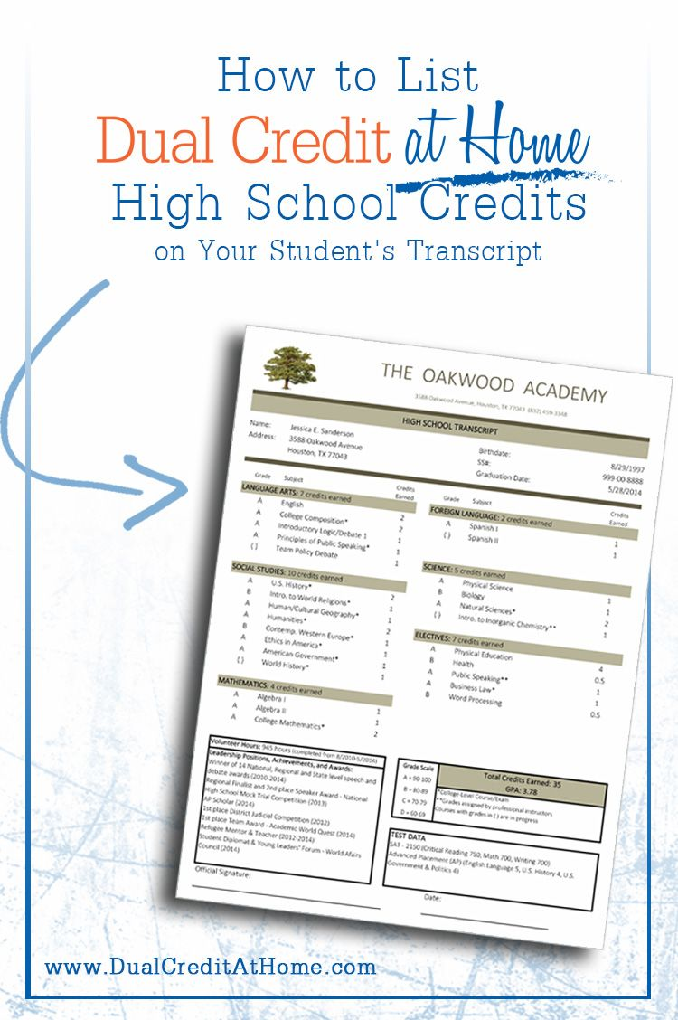 How To List Dual Credit At Home's High School Credits On Your Student's  Transcript Calculate Your
