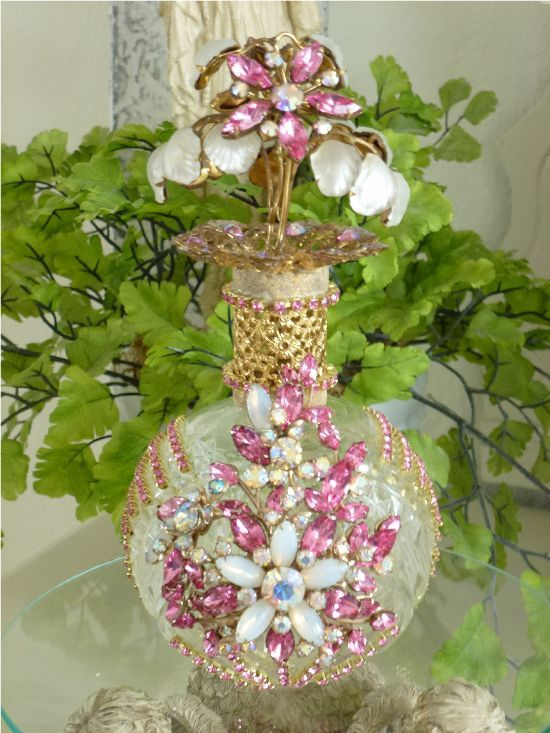 victorian bejeweled clocks | ... Clock,tray, mirror, perfume, antique, vintage, victorian, Sparkle