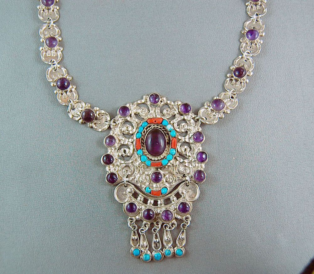 Vintage Mexican Sterling Silver Amethyst Turquoise Necklace Signed Morales MC102