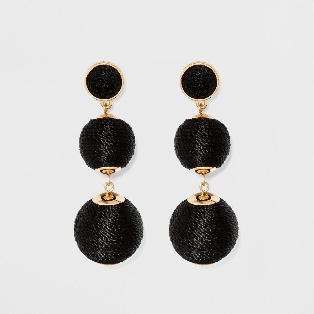 a6f0559f0 Sugarfix by BaubleBar Ball Drop Earrings - Light Pink Black Diamond Earrings,  Gold Drop Earrings