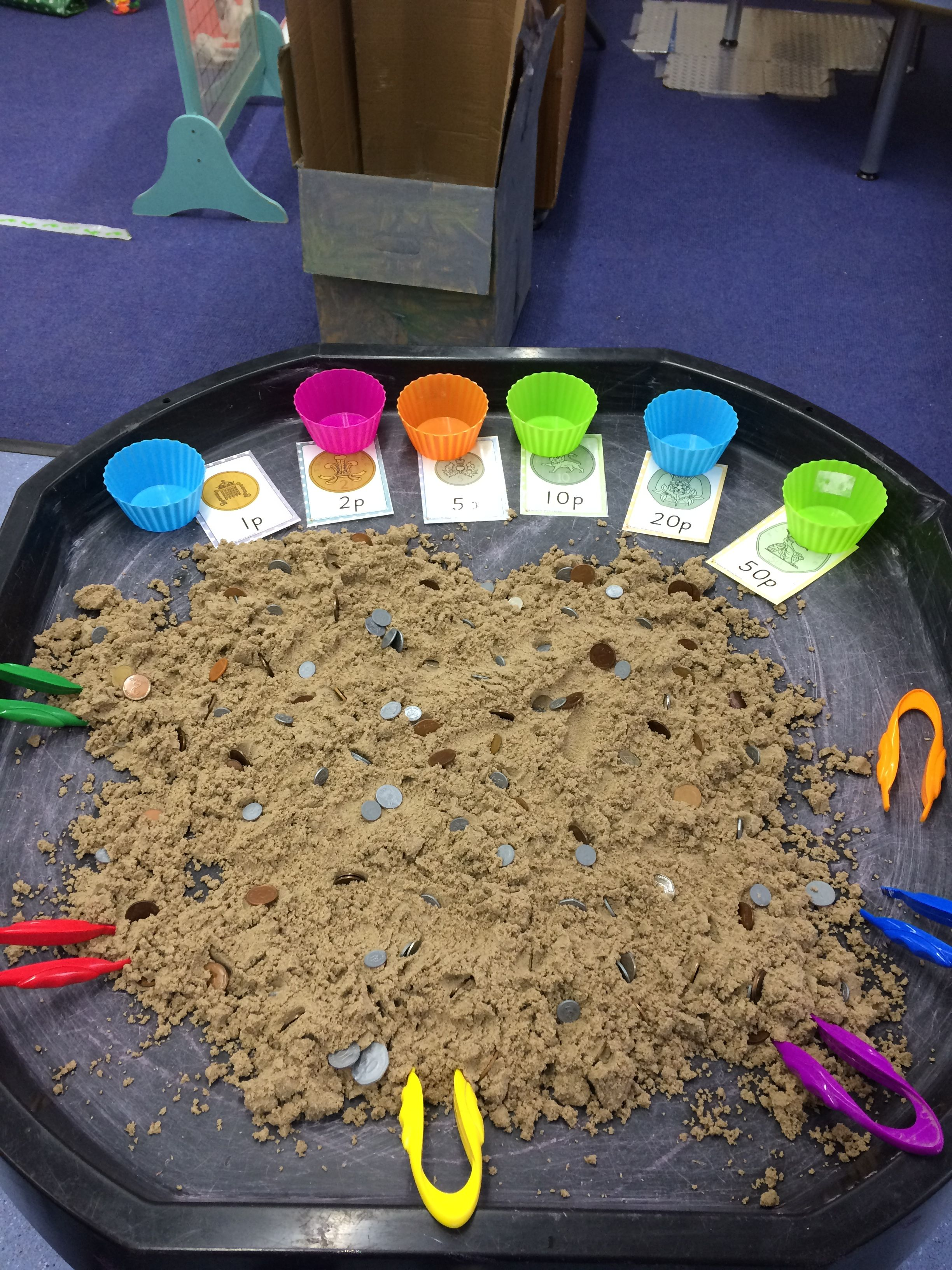 Sorting Coins In The Sand Using Tweezers Early Years