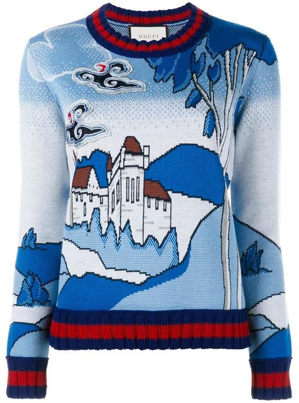 look out for shop buy popular GUCCI Castle Jacquard Merino Wool Knit Top | Gucci jumper