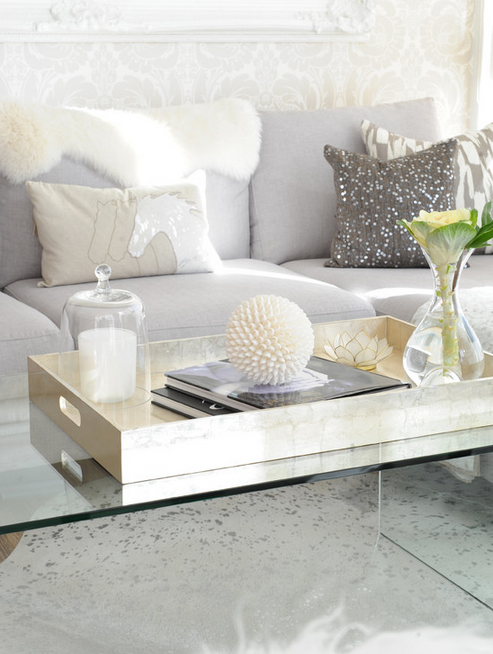 Lucite Coffee Table Xl Gold Tray