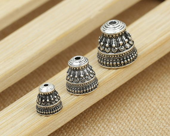 bali sterling silver bead end caps set of guru beads prayer beads mala making 3 holes tbead and cones bead cap