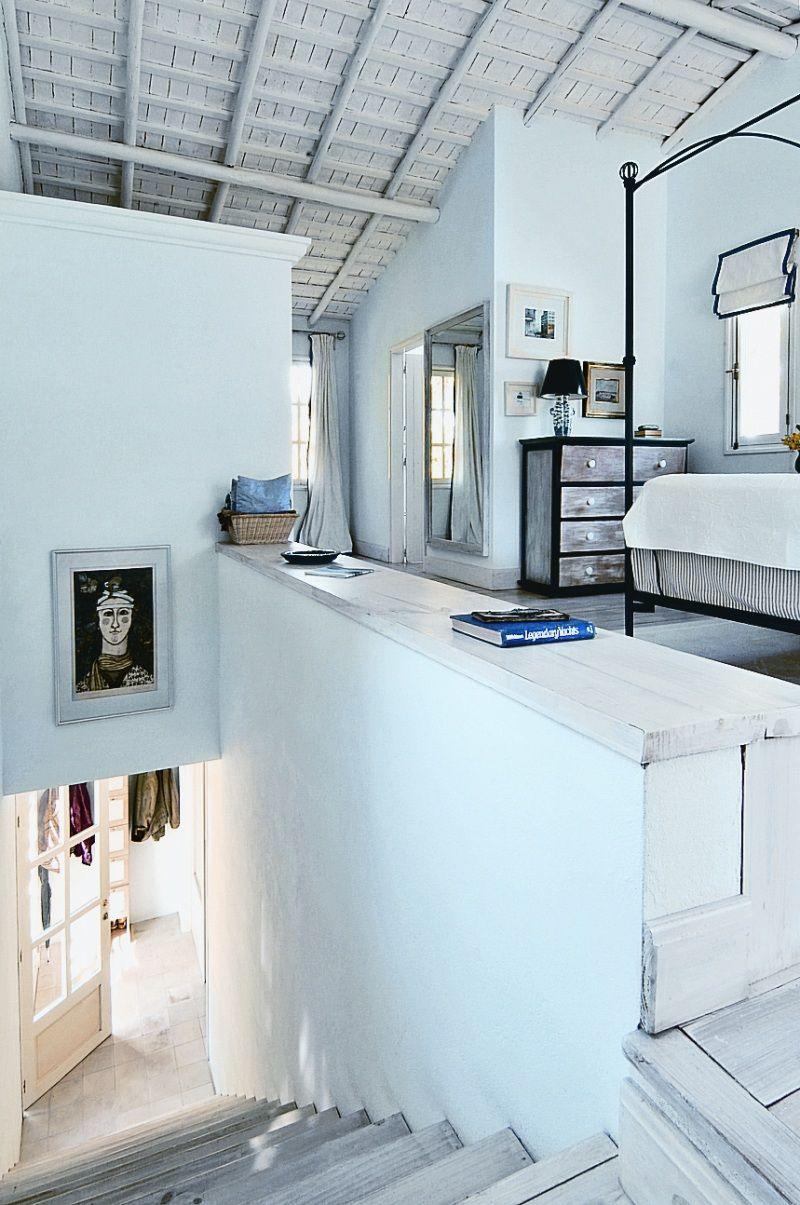 Loft bedroom privacy ideas  I love the dark border around the soft roman blind Very effective