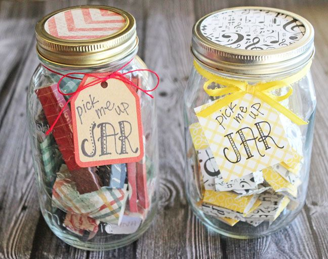 Hello Friends I Have Something A Little Different For You Today A Bit Of Happiness In A Non Food Form If You Will In Happy Jar Quote Jar Mason Jar Gifts