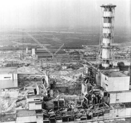 An aerial view of the damaged caused by the explosion at the