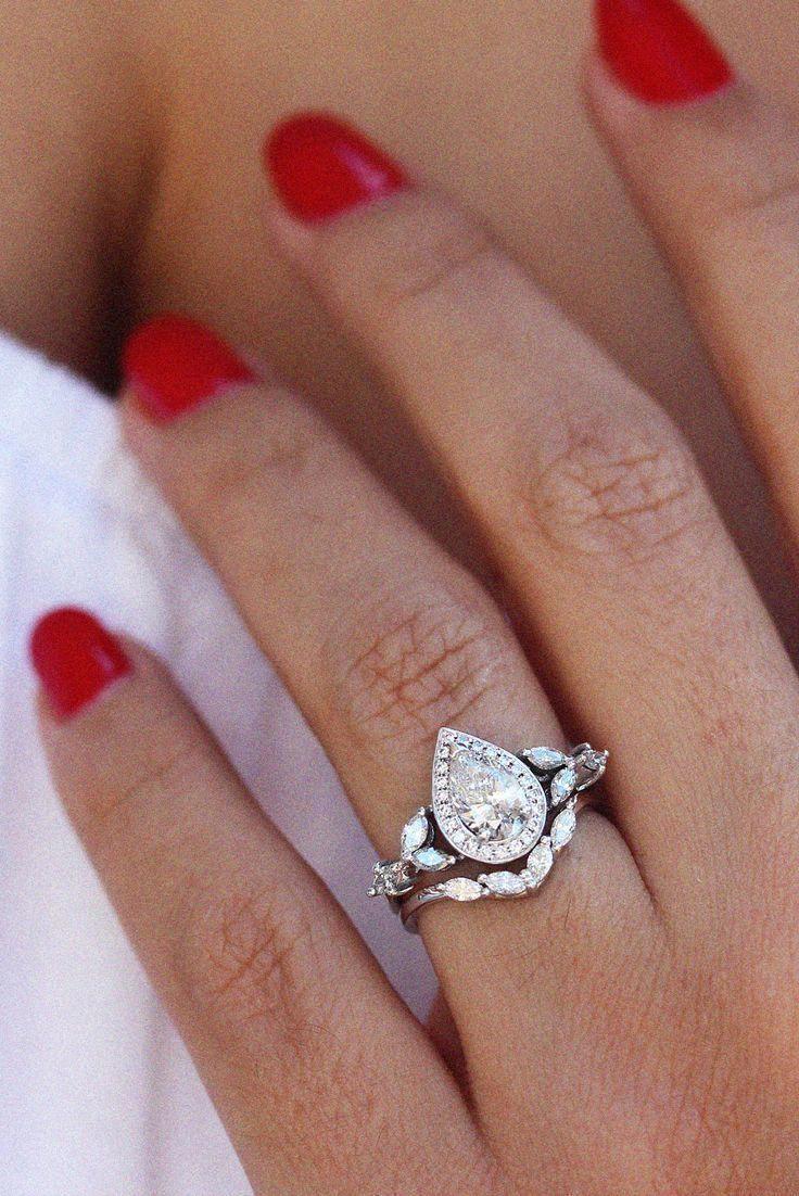 7mm green tourmaline ring set 14k white gold diamond