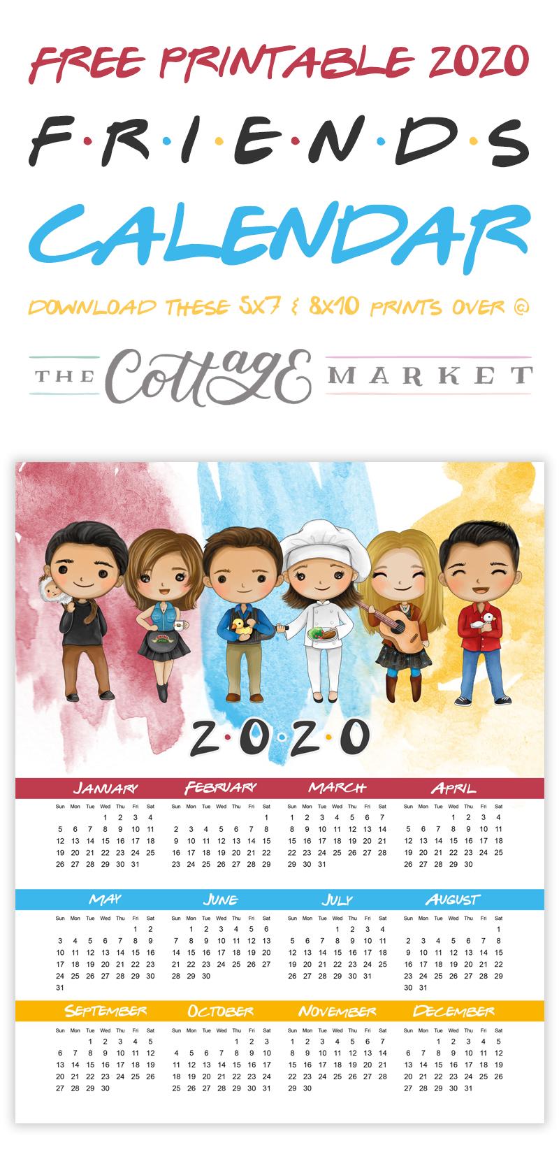 Free Printable 2020 FRIENDS Calendar Free printables