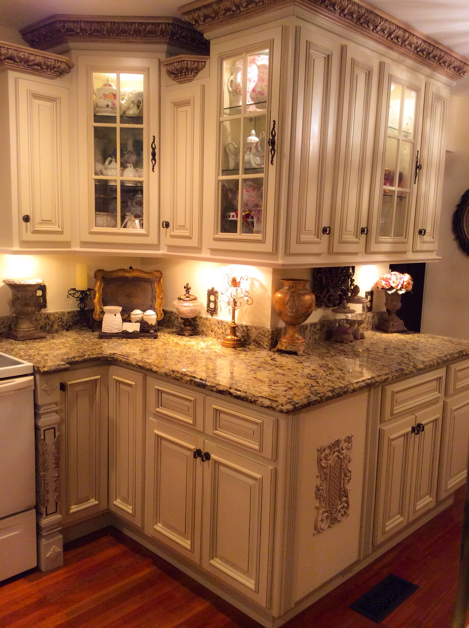 I hand painted the crown moldings, embellished the ...