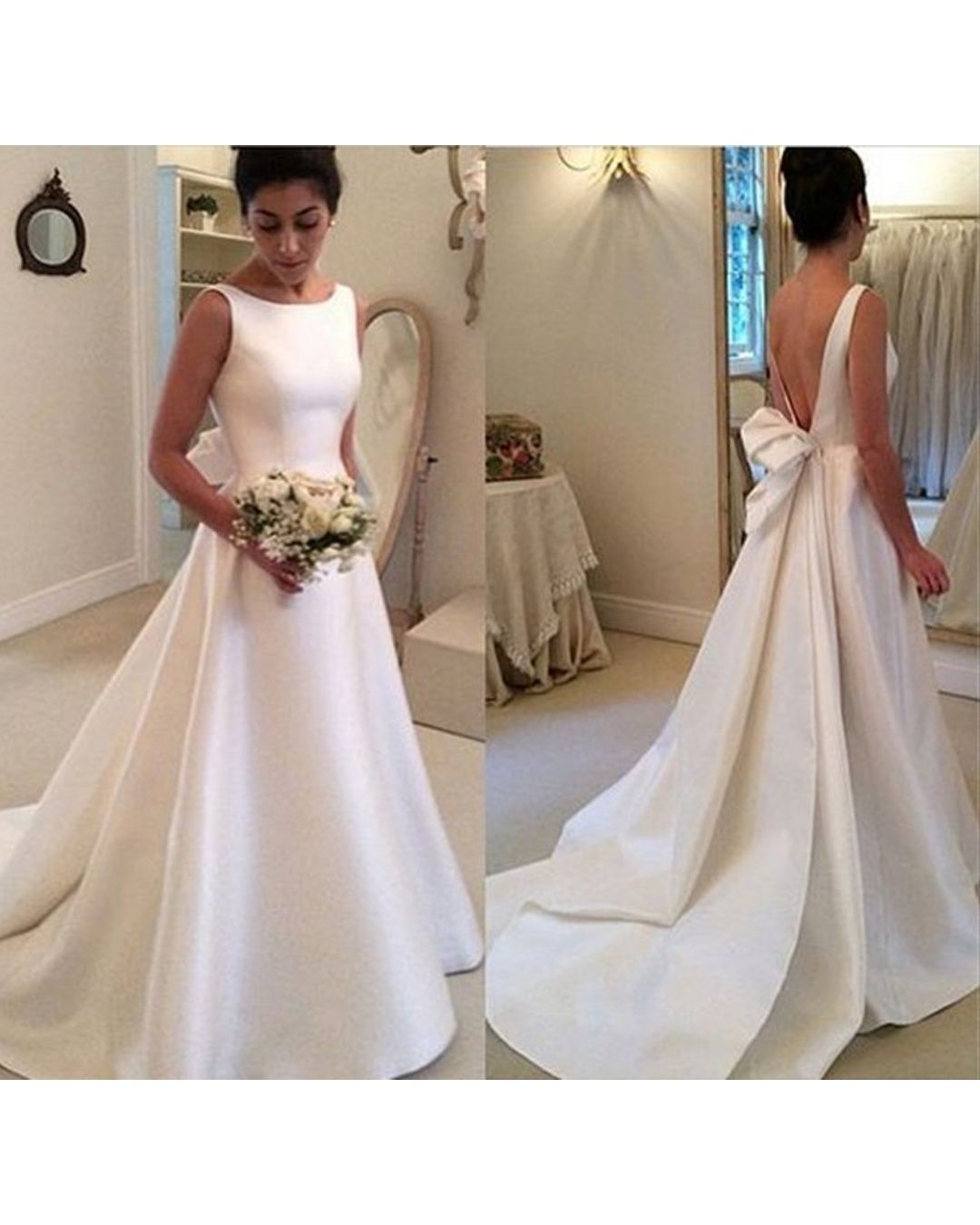 Wedding dress with bow on back  Simple Ball Gown White Satin Long Wedding Dress Open Back Ribbon