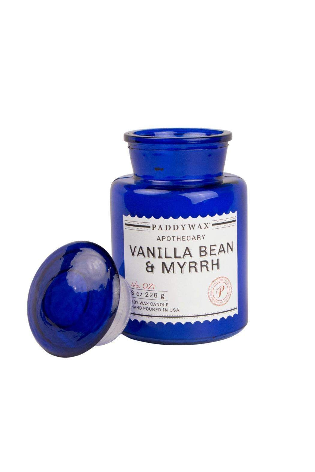 Our signature Soy Wax, paired with the perfect remedy of Vanilla Bean & Myrrh fragrance notes, hand-poured in a 8 oz. vintage-inspired Blue Apothecary glass bottle.    Blue Vanilla Candle  by Paddywax. Home & Gifts - Home Decor - Candles & Scents Providence, Rhode Island