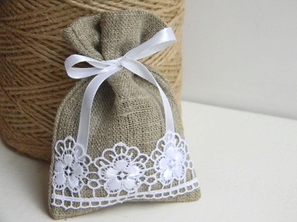 SET OF 10 Natural Rustic Linen Wedding Favor Bag by WeddingForYou ...
