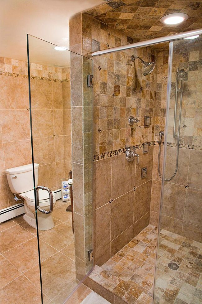Tumbled Stone Tile with Glass Accents Fuda Tile – Stone Bathroom Tiles