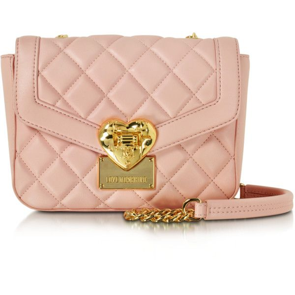 Love Moschino Handbags Small Quilted Shoulder Bag (450 BAM) ❤ liked on Polyvore featuring bags, handbags, shoulder bags, pink, pink handbags, hand bags, pink shoulder handbags, handbags shoulder bags and chain shoulder bag
