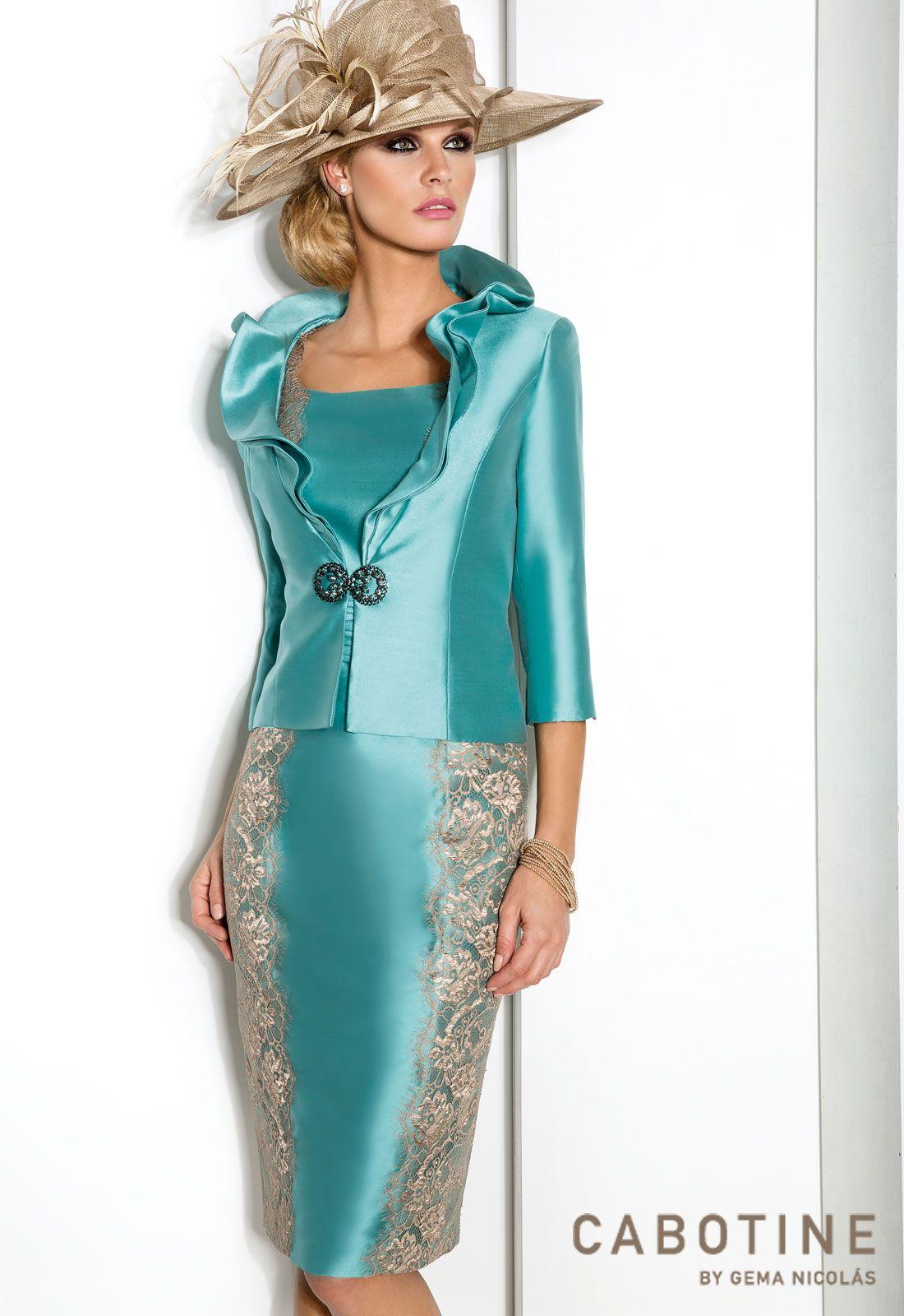 DONNA 6242 Conjunto vestido de madrina corto en mikado y encaje de ...