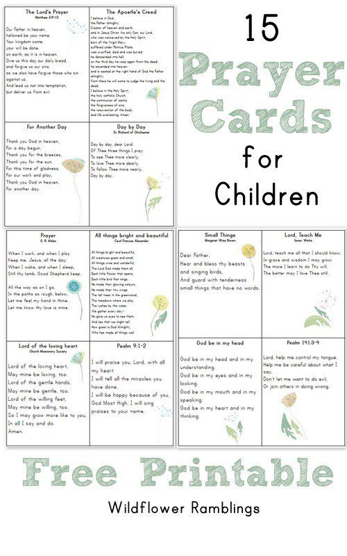Catholic Worksheets For Kindergarten : Prayer cards for children free printable