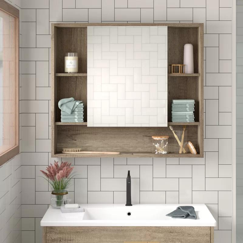 Foundstone Lee 34 X 30 Surface Mount Framed 1 Door Medicine Cabinet With 7 Shelves Reviews In 2020 Bathroom Vanity Base Foundstone Medicine Cabinet Organization