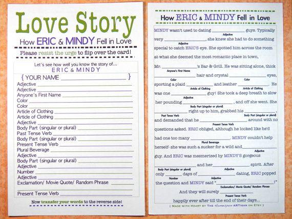 Funny Bridal Shower Mad Lib / Love Story Bachelorette Game
