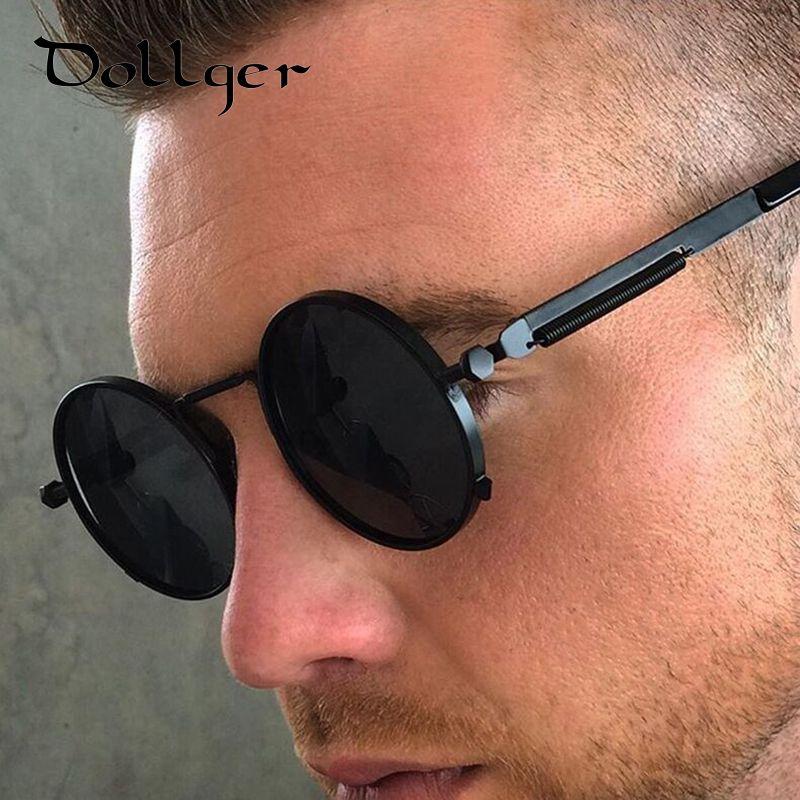 4fb4d72a38b Dollger Steampunk Retro Coating Mens Vintage Round Sunglasses Men Women  Brand Designer Gafas Oculos de sol Feminino Mirror S0339