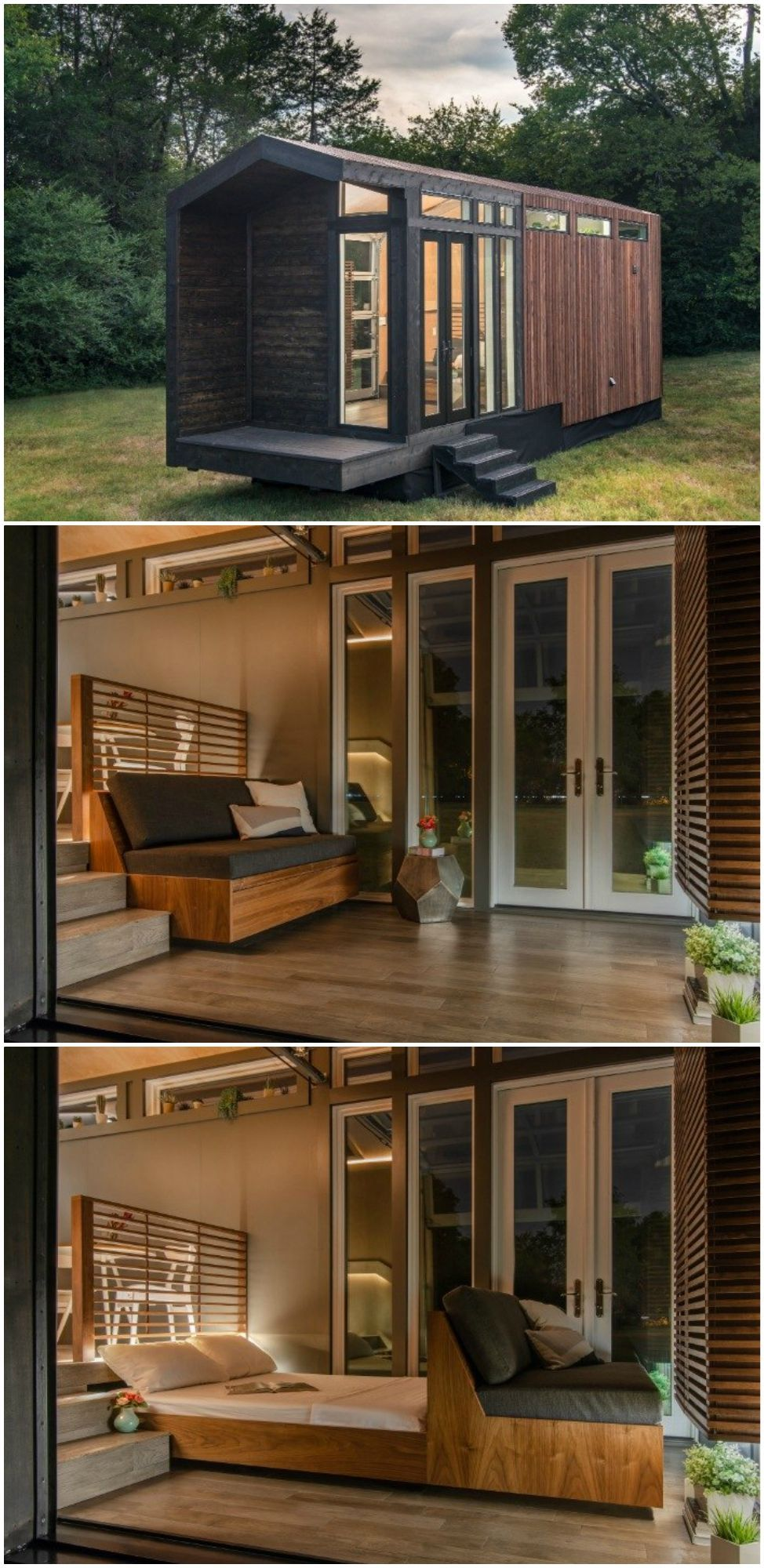The Orchid tiny house boasts an extra hideaway bed for overnight guests #tinyhouse