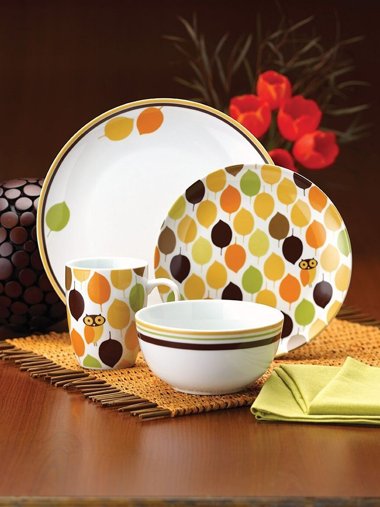Owl Dinnerware Dish Set 16 Pc Casual Stoneware Plates Bowls & Owl Dinnerware Dish Set 16 Pc Casual Stoneware Plates Bowls | Dish ...