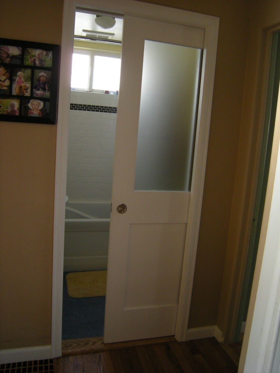 Bathroom pocket doors - Pocket Door With Glass