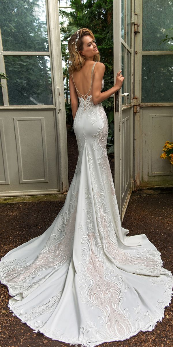 1d36f6834d9 crystal design 2018 wedding dresses trumpet lace low back spaghetti straps  with train style emily