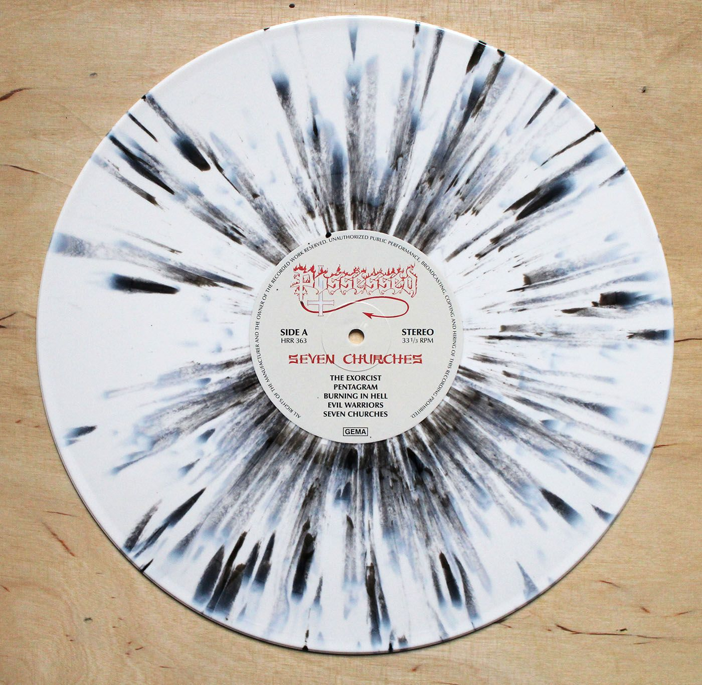 Possessed Seven Churches White Black Splatter Vinyl 12 Inch Vinyl Artwork Vinyl Vinyl Records