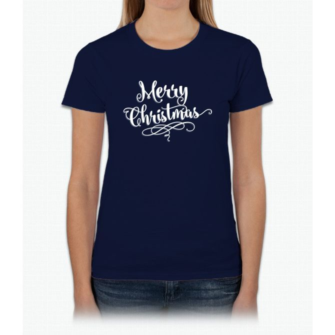 Merry Christmas - Fancy Script - Holiday T Shirt Womens T-Shirt