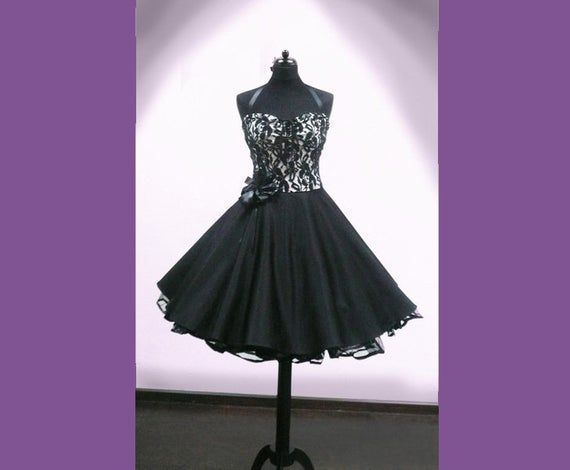 Black petticoat, Evening dress, confirmation dress #confirmationdresses Beautiful petticoat dress in the style of the 50s made to your own measurements.  Super as confirmation dress or even for the bridesmaid!  The dress can also be viewed on site, make an appointment with us.  You can also find the matching bolero with us. On request also other sleeve length and of #confirmationdresses Black petticoat, Evening dress, confirmation dress #confirmationdresses Beautiful petticoat dress in the style #confirmationdresses