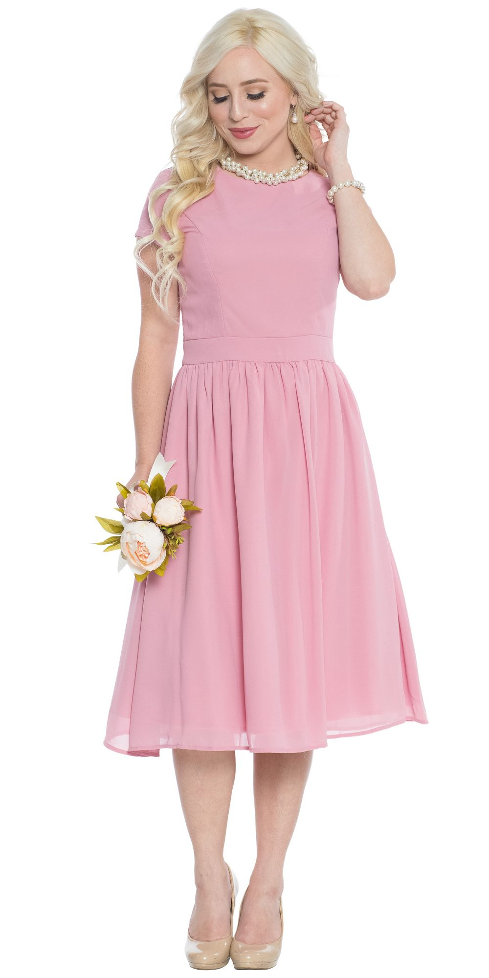 Lucy Modest Bridesmaid or Semi-Formal Homecoming Dress in Blush Pink ...