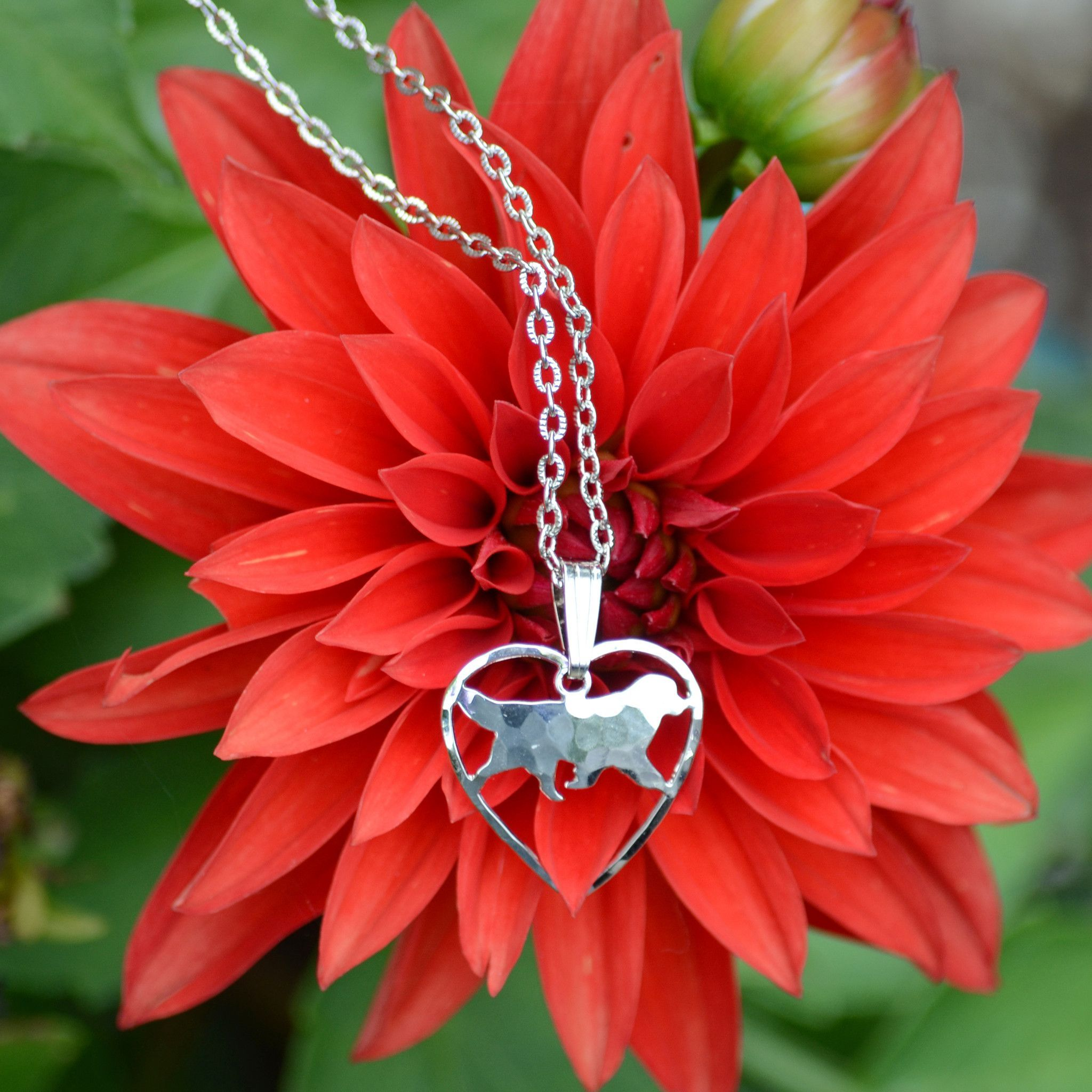 Heart Shaped Silver Newf Pendant & Necklace